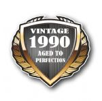 1990 Year Dated Vintage Shield Retro Vinyl Car Motorcycle Cafe Racer Helmet Car Sticker 100x90mm